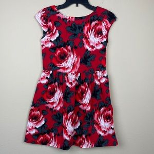 Gap Kids girl red floral fit and flare dress sz 12